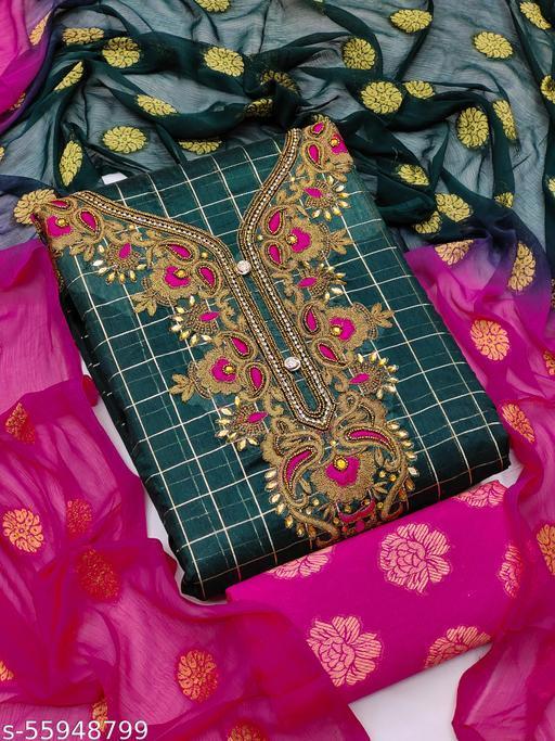Bhagyalaxmi Unstich Dress Materials With Khatli Work