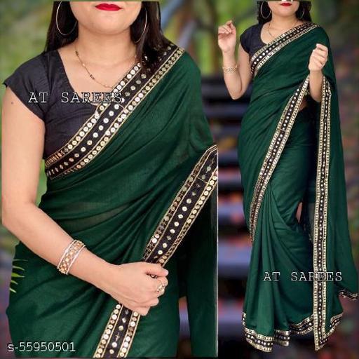 DWARKESH CREATION presenting plain vichitra silk saree with beautifull lace.