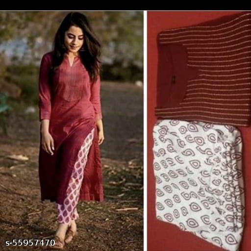Women's maroon lining kurta with printed pant set(please prefer real image)