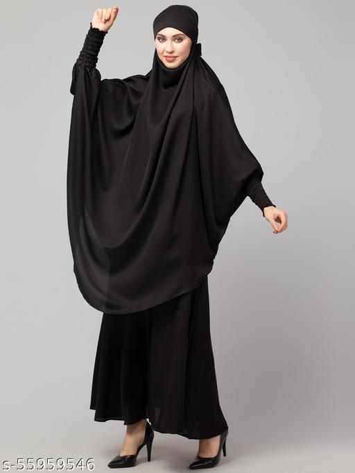 Nazneen Black Two pc Khimer & Skirt Ready to wear Instant Hijab cum Naqab Set