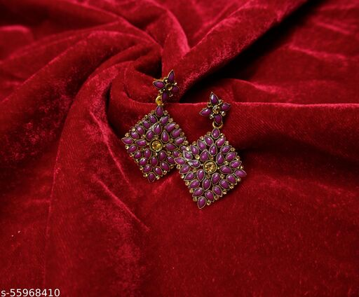 Purple Floral Head With Gem Filled Body & Centre Citrine Coloured Stone Bridal/Traditional For Girls,Women Stylish Earring