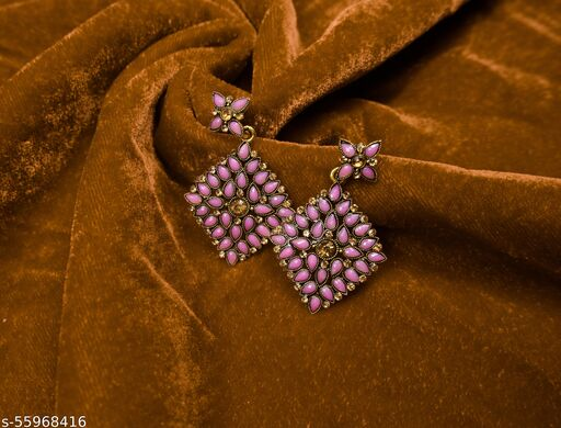 Pink Floral Head With Gem Filled Body & Centre Citrine Coloured Stone Bridal/Traditional For Girls,Women Stylish Earring