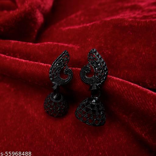 Minimal Peacock Head With Jhumki Base Elegant & Cute Black Bridal/Stylish/Traditional Earring For Girls,Women