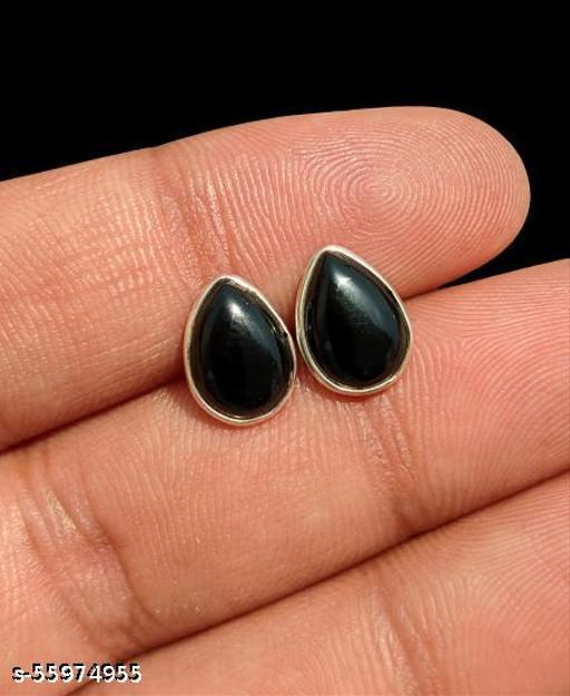 Natural Black Onyx 925 Sterling Silver 7x10 MM Pear Shape Cabochon Gemstone Minimalist Small Studs Earrings Jewelry for Women & Teens Girls