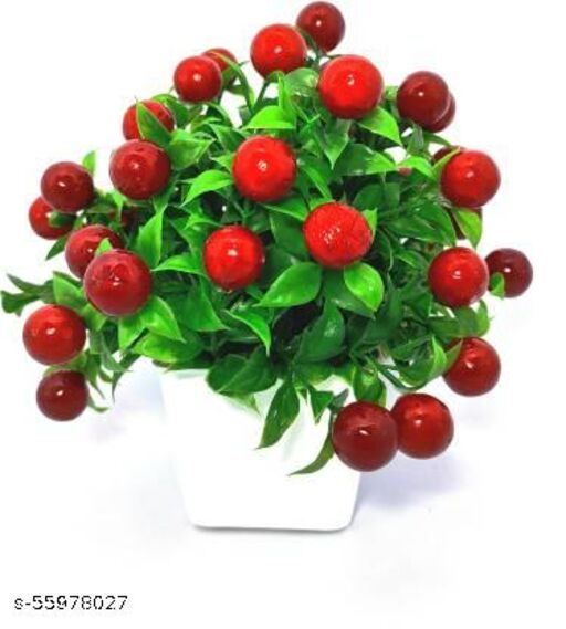 shamikshaArtificial Flower Pot Red Cherry for Tableware Home Decor Living Room Shop Office Bed Room Washroom & Gift Artificial Plant with Pot Multicolor Cherry Blossom Artificial Flower with Pot  (8 inch, Pack of 1)