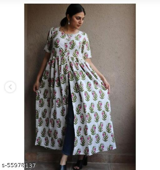 Womans Rayon Anarkali Cut Design Ankle Length  Printed Kurtas For Girls And Womans