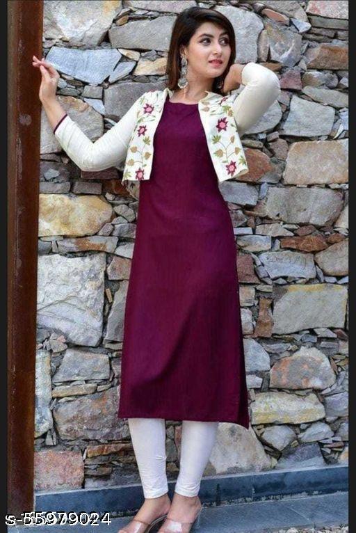 Rayon self embroidered Jacket kurti in Rayon Fabric