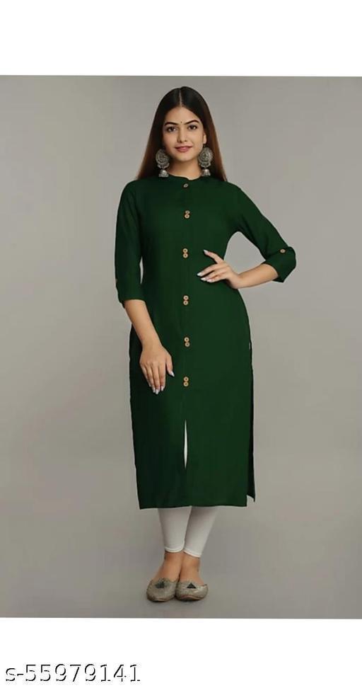 Woman Stylish Rayon Bottal Green Straight Kurti