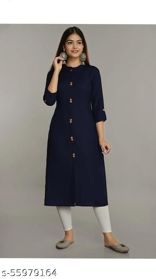 Woman Stylish Rayon Neay Blue Straight Kurti