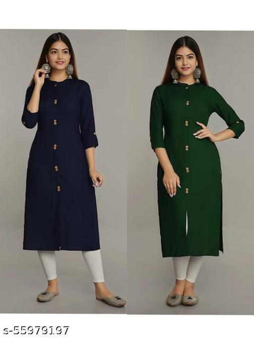 Woman Stylish Rayon Neay Blue & Bottal  Green  Straight Kurti pack of-2