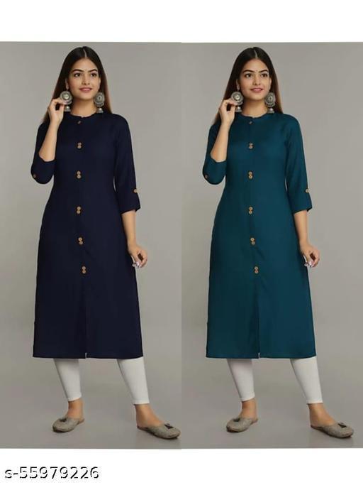 Woman Stylish Rayon Neay Blue & T-Blue Straight Kurti pack of-2