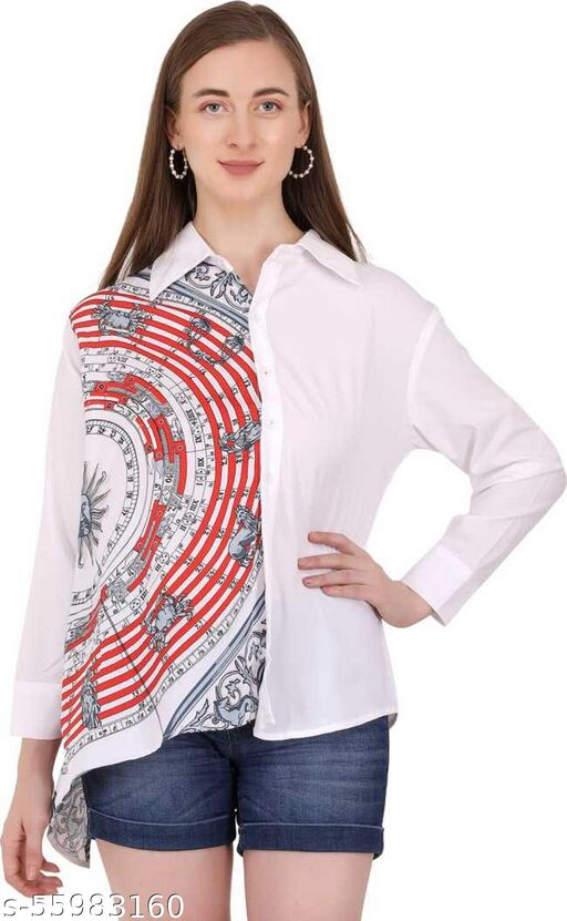 Stylish Compass Patterned Shirt for Women Free Size up to 36 Waist