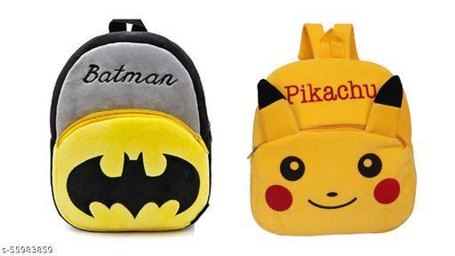 HERITI COLLECTION- kids first choice 2pc-Combo( BATMAN WITH PIKACHU ) bagpacks, Kids Bag , Plush Bags , School Bags for Kid Girl/boy. 1to 6 year kids-