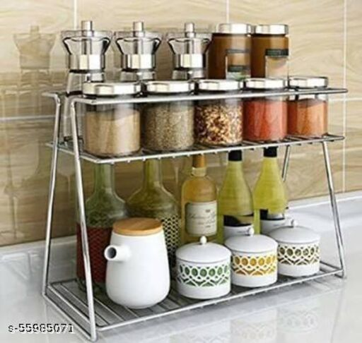 Stainless Steel Spice 2-Tier Trolley Container Organizer Organiser/Basket for Boxes Utensils Dishes Plates for Home (Multipurpose Kitchen Storage Shelf Shelves Holder Stand Rack) Containers Kitchen Rack (Steel) Fruits/Vegetables Kitchen Rack  (Steel