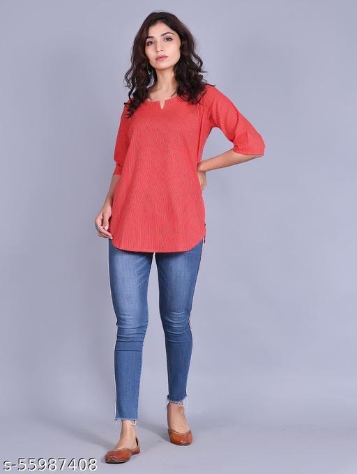 Women Printed Cotton Blend Straight Kurta(Red)