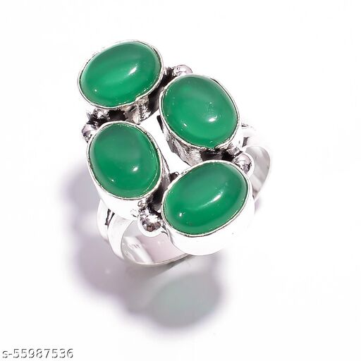 Green Chalcedony Gemstone Ethnic Style Silver Plated Ring 8.25 US SR-4885