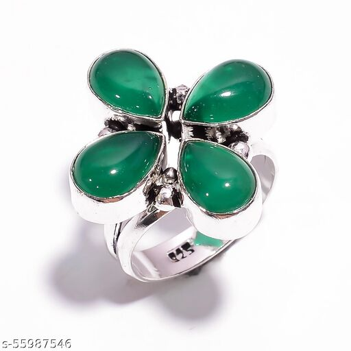 Green Chalcedony Gemstone Ethnic Style Silver Plated Ring 8.5 US SR-4898