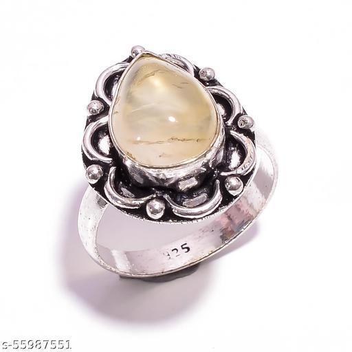 Prehnite Gemstone Vintage Style Silver Plated Ring 8.25 US SR-4804