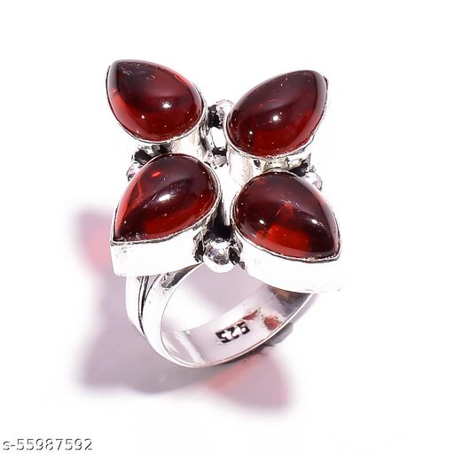Red Garnet Gemstone Ethnic Style Silver Plated Ring 8.25 US SR-4822