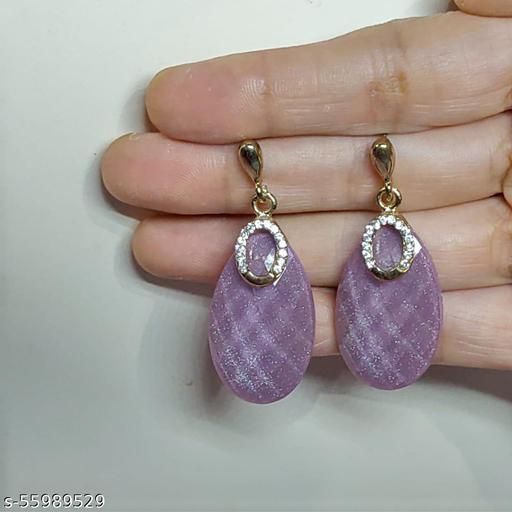 Purple crystal earrings.