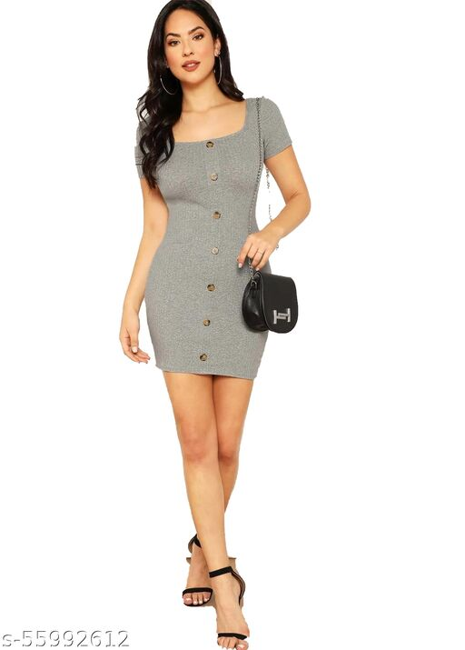 Front Button Square Neck Ribbed Bodycon Dress