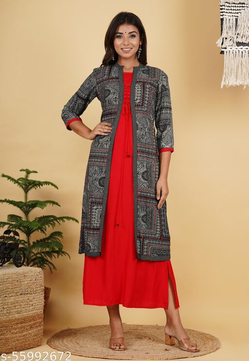 Designer Red Color Womens Readymade Kurti With Long black Jecket