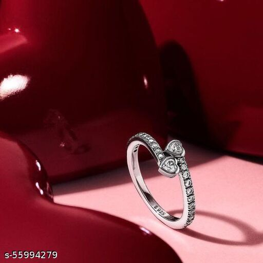 Cluster heart silver ring