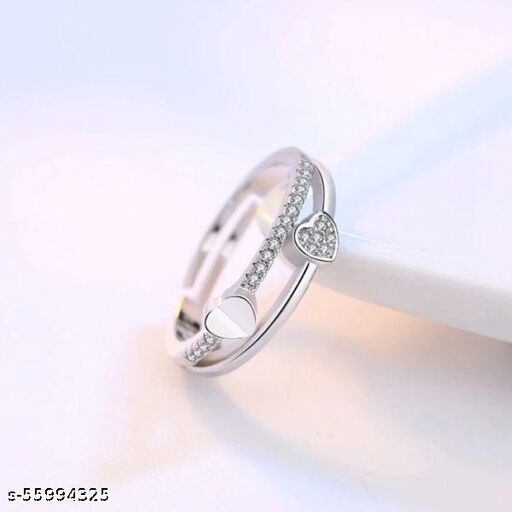 Heart layered silver ring
