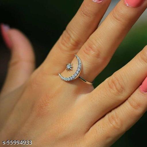 Moon star silver ring
