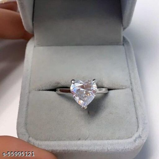 Plain heart silver ring