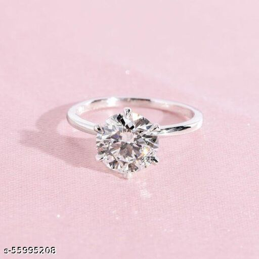 Silver plain solitaire Rings