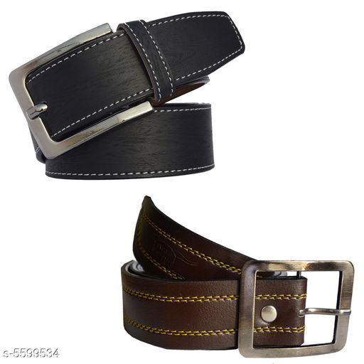 Men's Black and Tan Color Casual Sythetic Belt