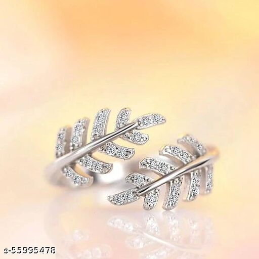 Double leaf silver ring