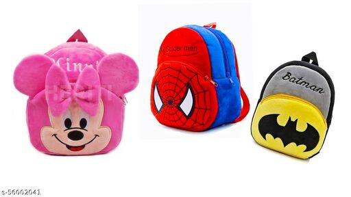 HERITI COLLECTION- kids first choice 3pc-Combo( PINK MINNIE ,SPIDERMAN WITH BATMAN) bagpacks, Kids Bag , Plush Bags , School Bags for Kid Girl/boy. 1to 6 year kids