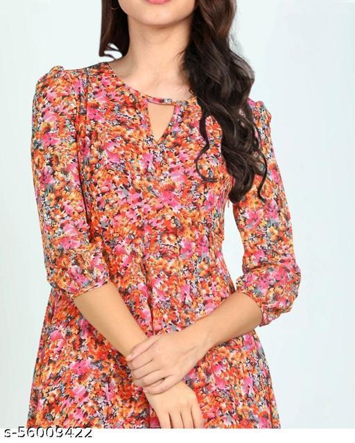 maakhodal  Women Asymmetrical Dress Slash Neck orange marbal print Sleeve Dresses  Female Elegant Slim Fit Vestidos
