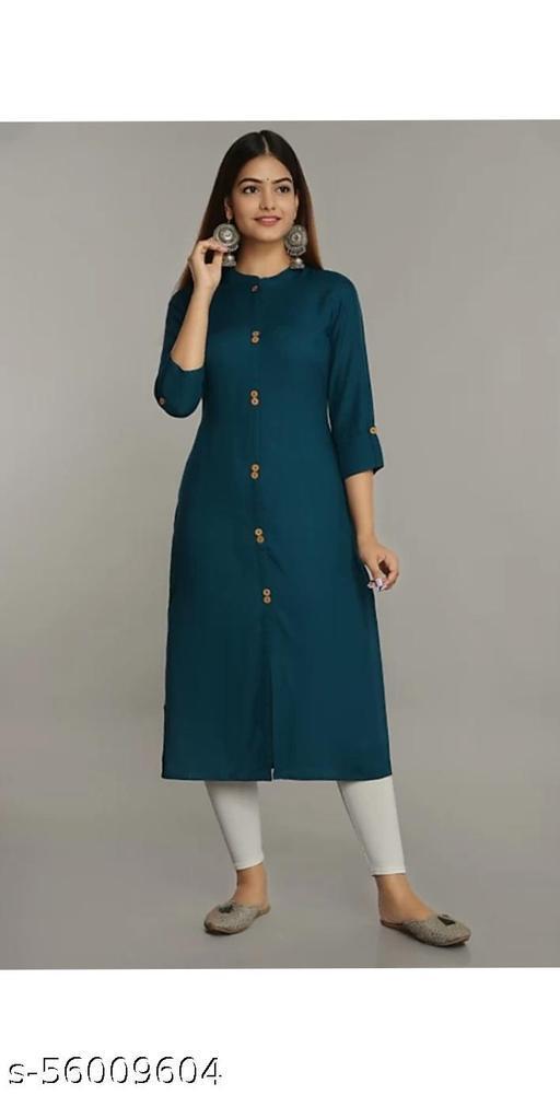 Woman Stylish Rayon T-Blue Straight Kurti