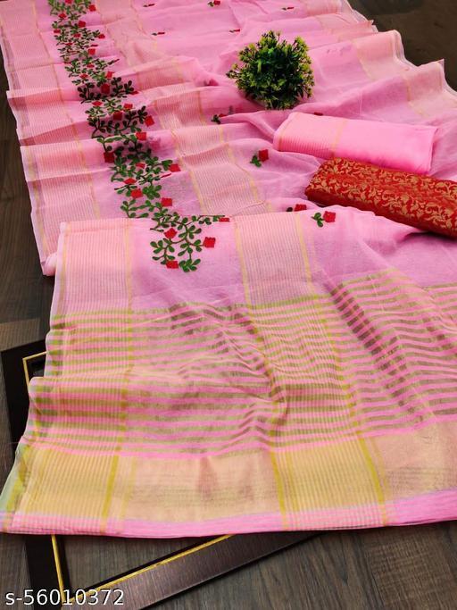 Fancy festive and wedding embroidered  work designer saree
