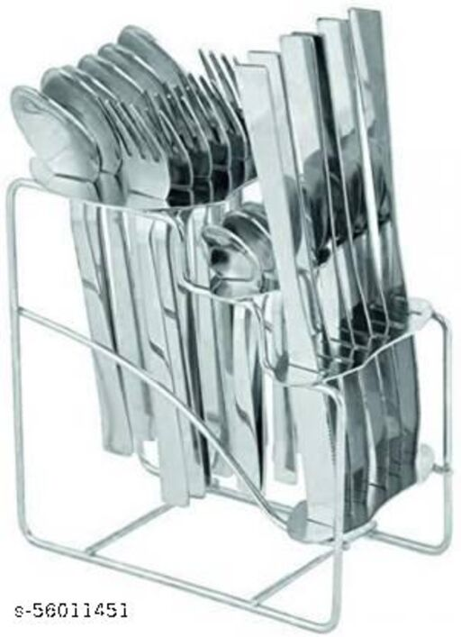 STAINLESS STEEL CUTLERY SET 24 pcs with Stand6 Table Spoons, 6 Tea Spoons, 6 Forks, 6 Knives