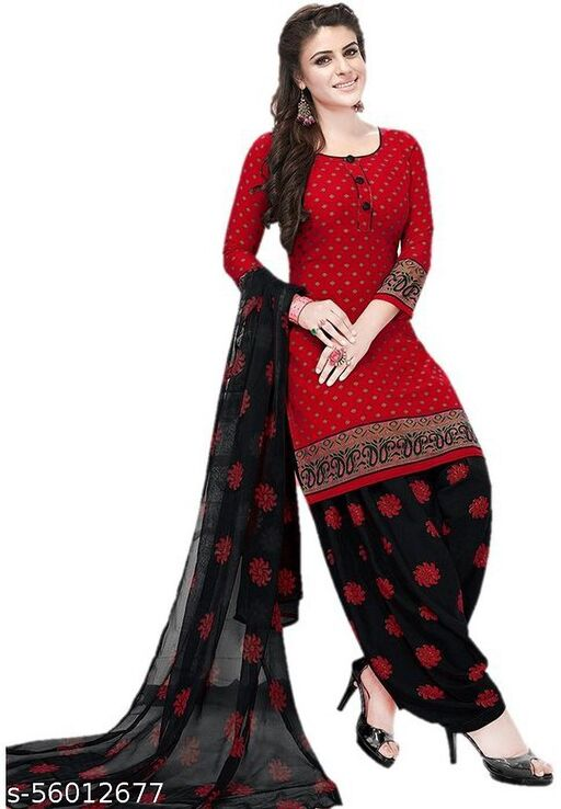 Fashion valley Crepe Printed Salwar Suit Material(Unstitched)