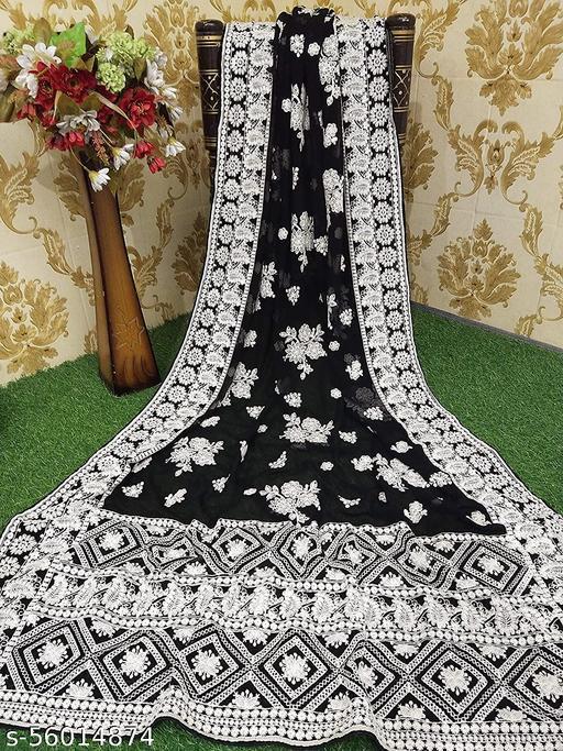 Cheshta Art® Georgette Saree,Chikankari Embroidery Work, With Unstitched Blouse