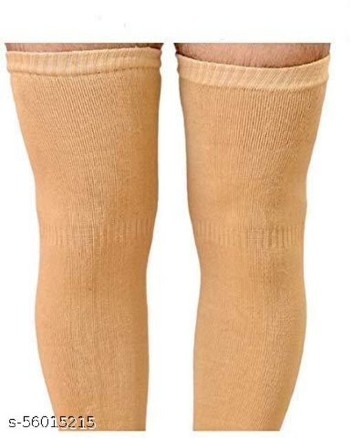 Knee Warmers, Woolen Knee Cap   Unisex   Elastic Support   Fully Stretchable (Beige) - 1 Pair