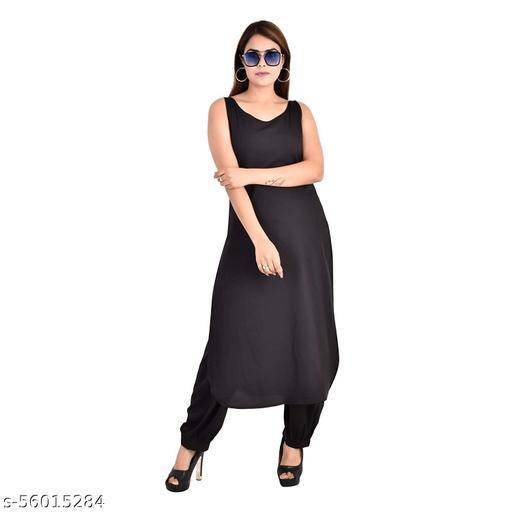 Women's Straight Pathani Black American Crepe Sleeveless Broat Neck Long Pathani Kurta & Salwar for Women