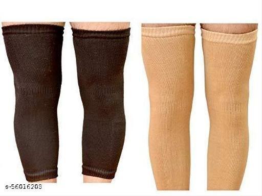 Knee Warmers, Woolen Knee Cap   Unisex   Elastic Support   Fully Stretchable (Black & Beige) -2 Pair