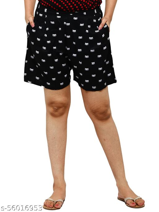 Easy 2 Wear ® Womens Cotton Rayon Cat Printed Shorts (Size XS to 4XL)