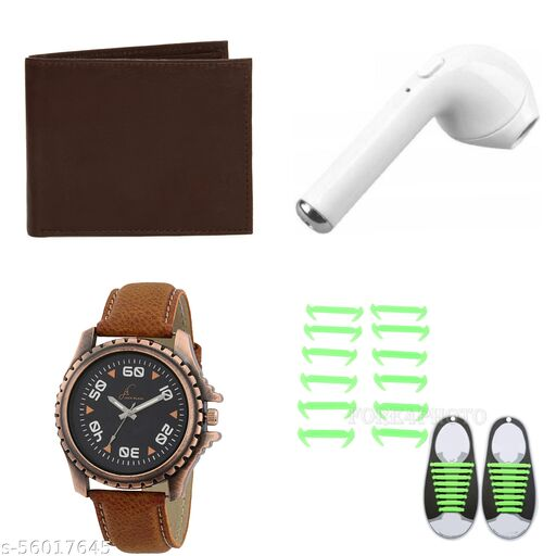 Jack Klein Combo Pack & gift set of brown wallet, stylish analog watch, single i7 earbud bluetooth & unique color silicone shoe laces