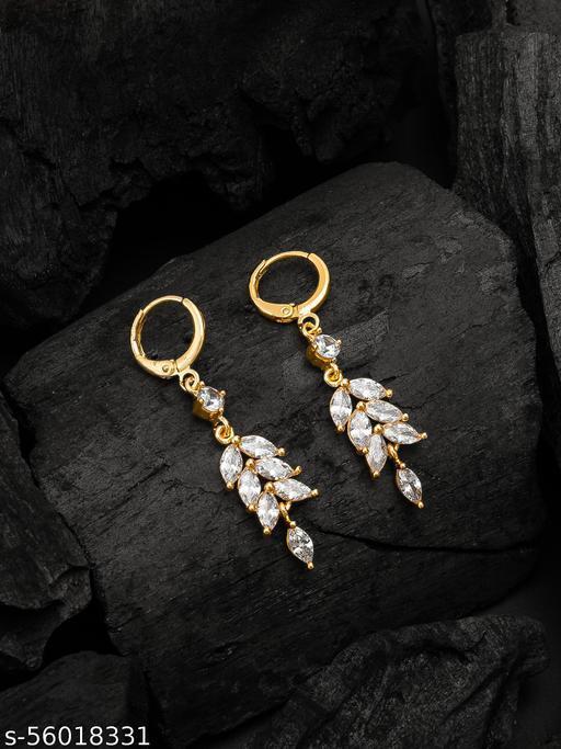 Beautiful Shimmering Rose Gold Plated Diamond Party Wear Women's Earrings & Studs