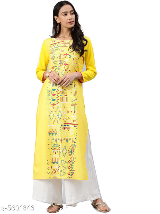 Women's Printed Yellow Crepe Kurti