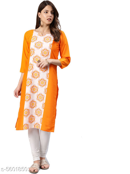 Women Crepe Panelled Printed Orange Kurti