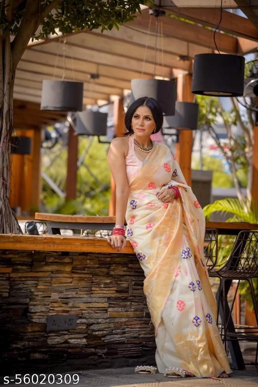 White Poly Silk Jacquard saree