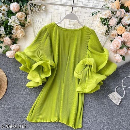 ruffle trim elbow sleeve A line dress by High-Buy- free size (s to 3xl)-neon green